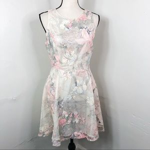 One Clothing Ivory Floral Mesh Overlay Dress M